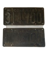 1939 Wisconsin License Plate Set Vintage