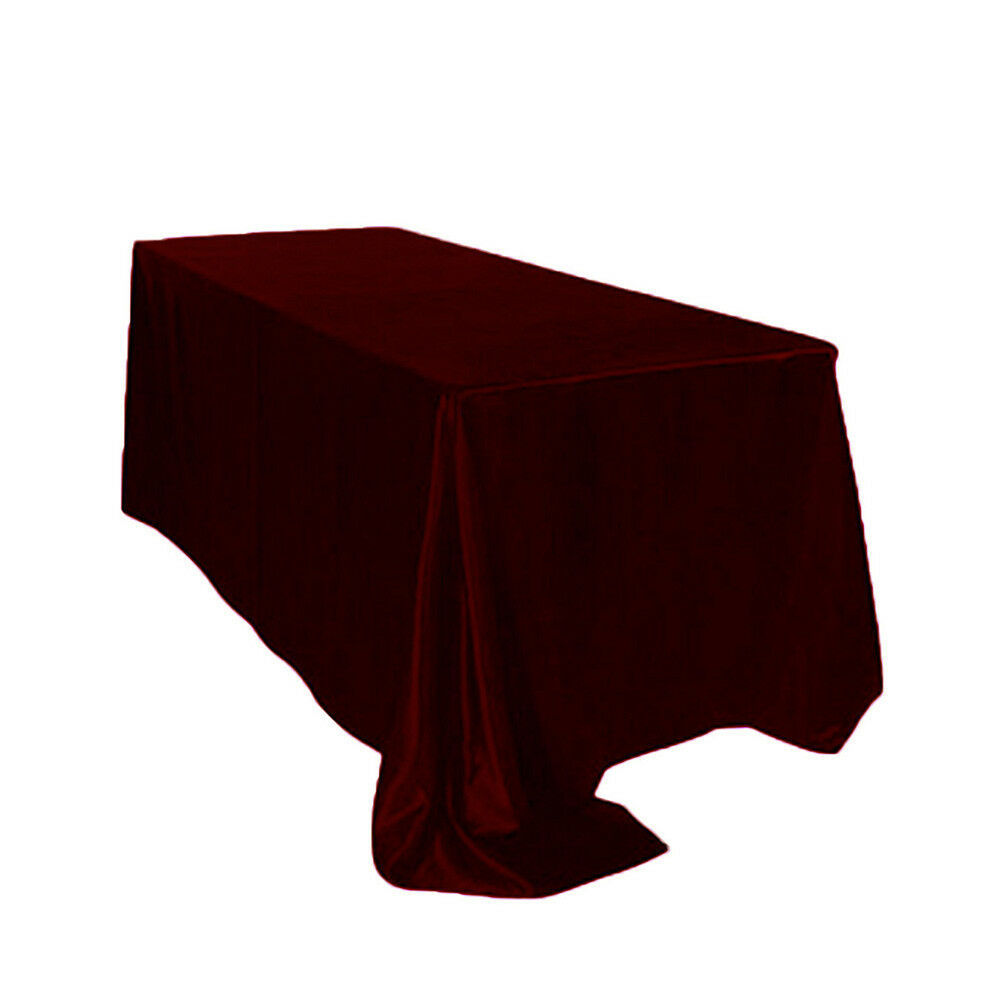 Primary image for Satin Tablecloth Burgundy 90 x 132 inch Rectangular
