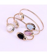 5Pcs New Charm faceted natural stone&pearl copper bangle gold color cuff... - $67.21