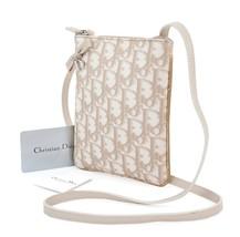 Auth CHRISTIAN DIOR Beige Trotter Canvas Pochette Shoulder Bag Purse #30558 - $185.00