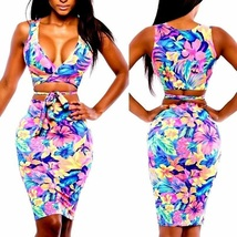 Womens Sexy Floral Bodycon Bandage Sleeveless Low Front Bust Out Fitted ... - $10.88+