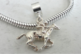 Racehorse And Jockey 3D Sterling Silver Sports Charm Fits All Slide On Bracelets - $19.95