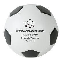 Personalized Custom Regulation Size Soccer Ball Pink Stars Birth Announc... - $59.95