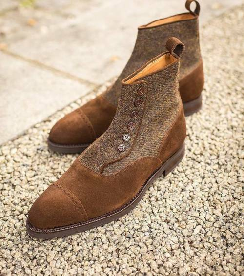 Handmade Men's Brown Suede And Tweed Two Tone Buttons Boots