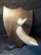 Vintage Style Reproduction Faux Rhino Horns Hunting Wall Hanging Plaque ... - $200.75