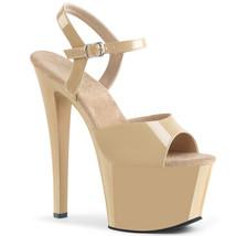 "PLEASER SKY309/CR/M Sexy Stripper 7"" Heels Cream Ankle Strap Sandal Wome... - $876,97 MXN"