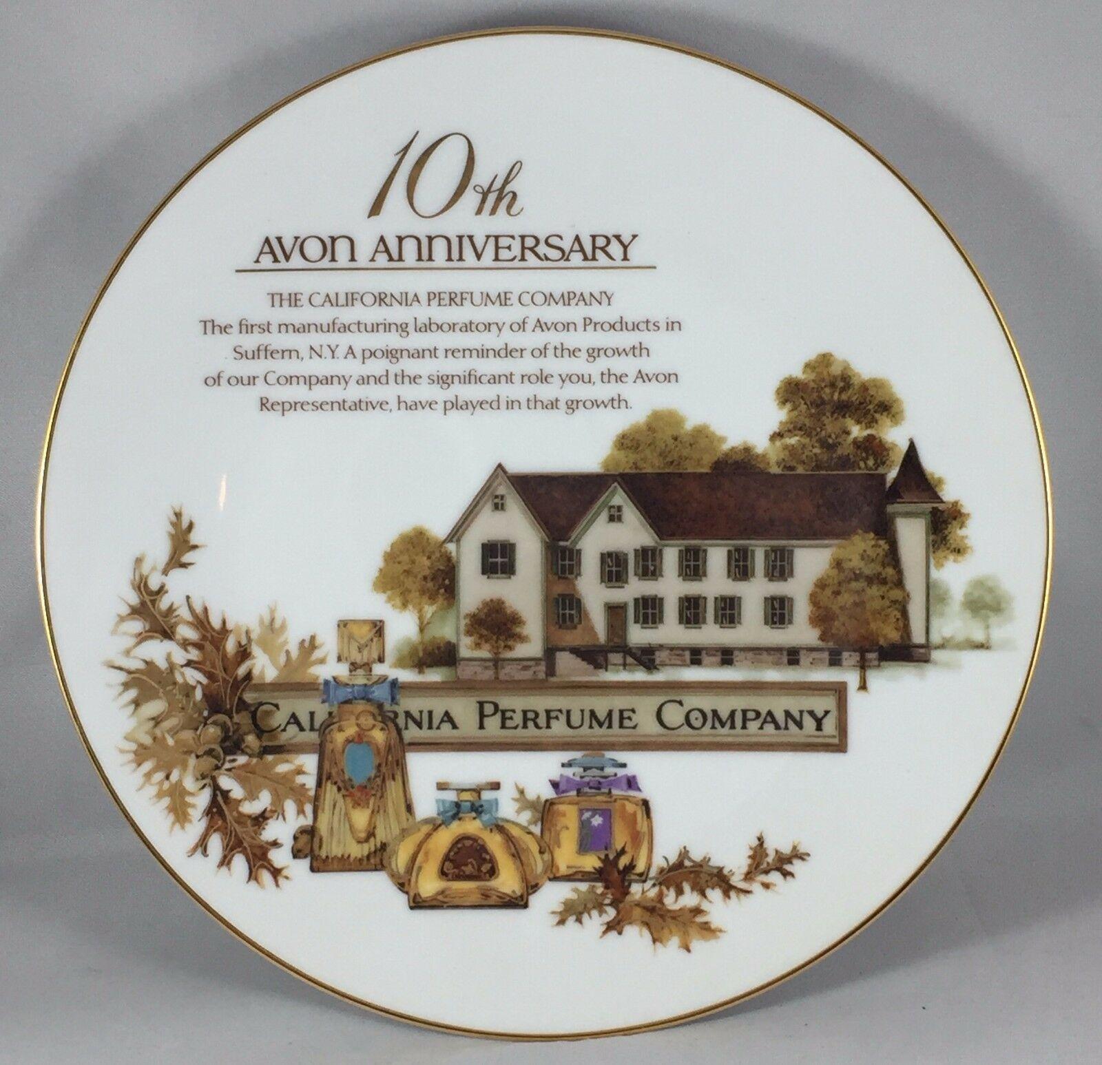 1990 Avon Porcelain Award Plate 10th Anniversary-California Perfume Company