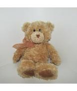 Gund shaggy tan light brown floppy teddy bear plush ribbon bow 01530 flo... - $9.89