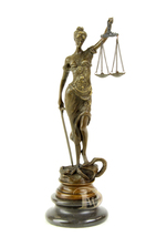 Antique Home Decor Bronze Sculpture shows Lady Justice signed*Free Air Shipping  - $169.00