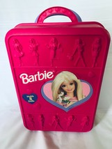 Barbie Take a Long Rolling Suitcase Pink Holds 8 Dolls 1998 Carry Case V... - $32.71