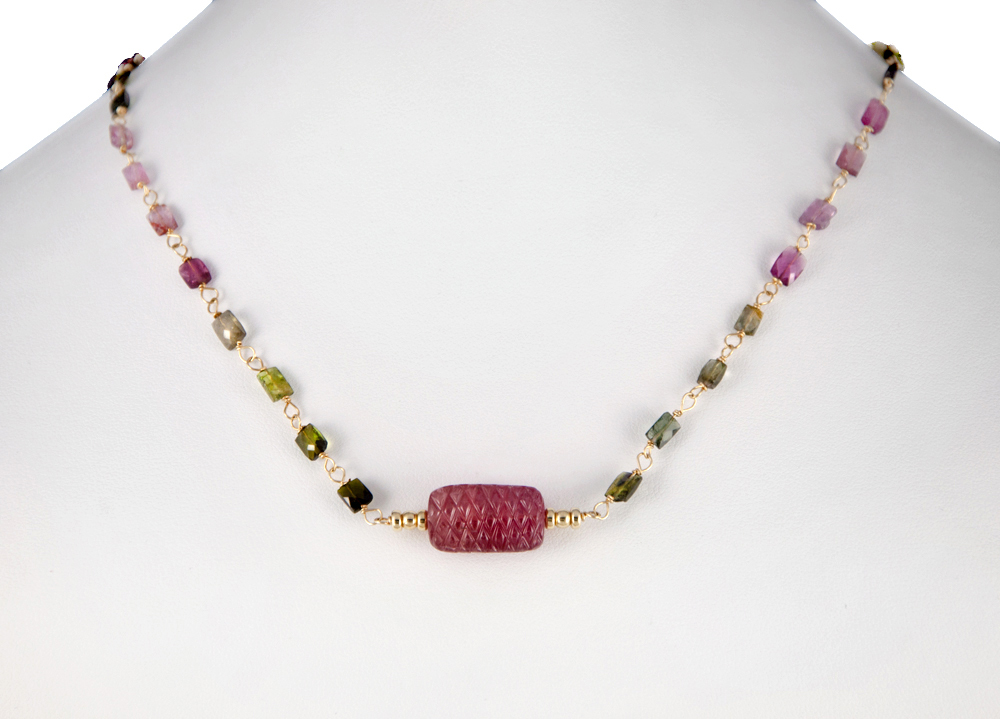 Tourmaline Pendant Necklace with Watermelon Tourmaline Station Chain 16-18 ins.