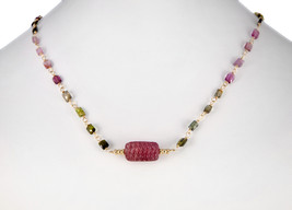 Tourmaline Pendant Necklace with Watermelon Tourmaline Station Chain 16-... - $288.00