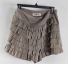 Cumar Taupe Ruffle Multi Tiered High-Rise Fashion Skort Shorts Sz M