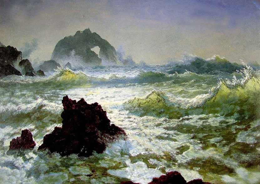 "Handpainted Oil painting seascape The Shore of the Turquoise Sea & waves 24""x36"""