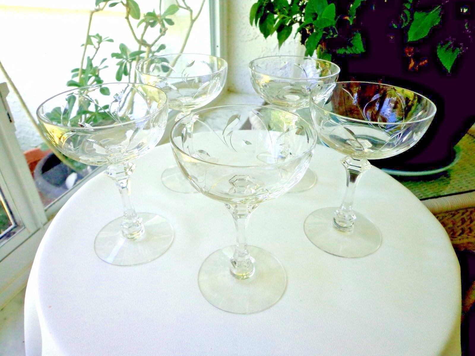 Set of 5 Tiffin Forever Clear Crystal Champagne Glasses 1960 - 1966 Retired - $29.70