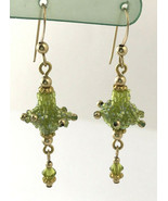 14K Gold Filled Green Beaded Dangle Earrings - $18.99