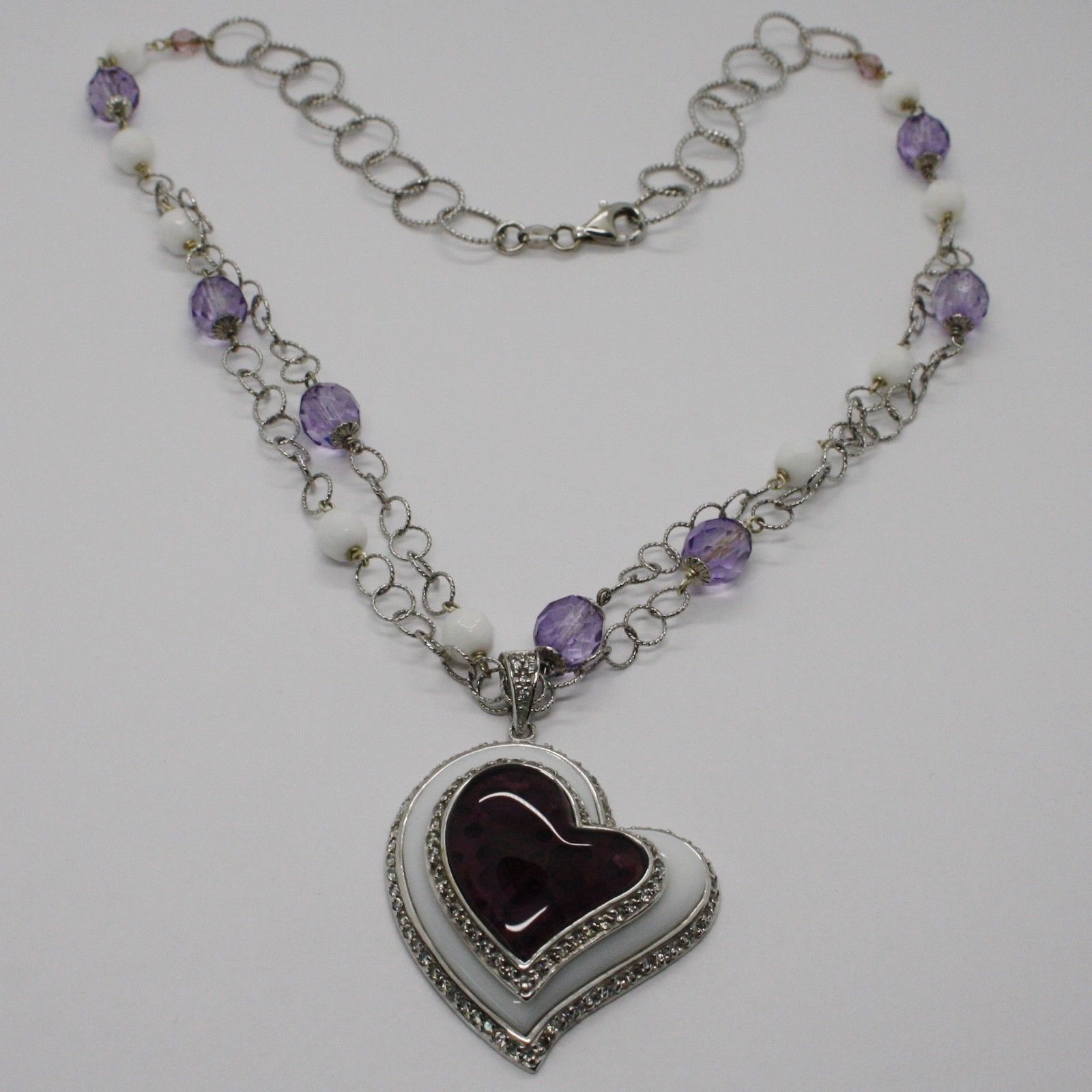 925 Silver Necklace, Amethyst, Agate White, Heart Pendant, Chain two files