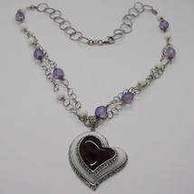 925 Silver Necklace, Amethyst, Agate White, Heart Pendant, Chain two files image 1