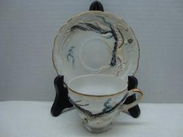 Gray dragon ware China demitasse cup and saucer. - $15.00
