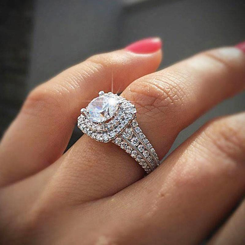 Classic big shine round zircon wedding rings for women trendy stainless steel jewelry engagement