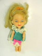 Rare Vintage 1965 Mattel Sleeping Biddle Doll w/ Pink Bow Blue Dress ~ No Lashes - $16.04