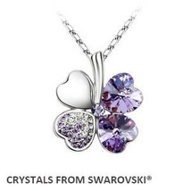 Yle hot sale classic clover necklace with crystals from swarovski christmas gift bijoux thumb200