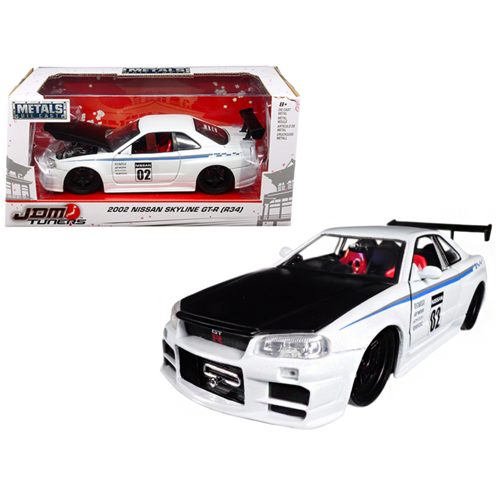 2002 Nissan Skyline GT-R R34 White #02 JDM Tuners 1/24 Diecast Model Car by Jada