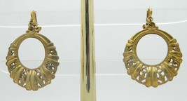 Miriam Haskell Gold Tone Open Work Hoop Screwback Clip Earrings Vintage - $98.99