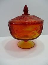 Vintage L E Smith Amberina Glass Compote Covered Candy Dish Grapes & Lea... - $24.99