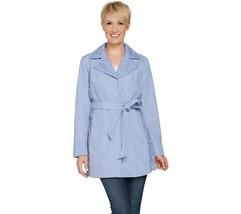 Dennis Basso Water Resistant Lace Trim Jacket Belt Blue Quartz XL NEW A2... - $74.23
