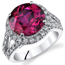 Women's Sterling Silver Ruby Round Halo Cocktail Ring With Split Band - $149.99