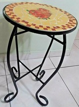 Small Mosaic Top Side Accent Table Patio Plant Stand Porch Balcony Back ... - $27.71