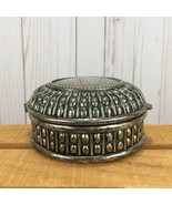 Vintage Embossed Ornate Heavy Silverplate Blue Velvet Lined Round Jewelr... - $37.46
