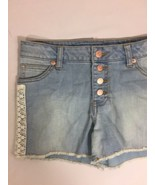 Cat & Jack Women Denim Shorts Light Wash Size L Button laced detail Shor... - $16.82