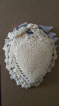 1960'S VINTAGE HANDCRAFTED CROCHETED PIN CUSHION, SEWING NOTION, SATIN EDGE, IVO image 2