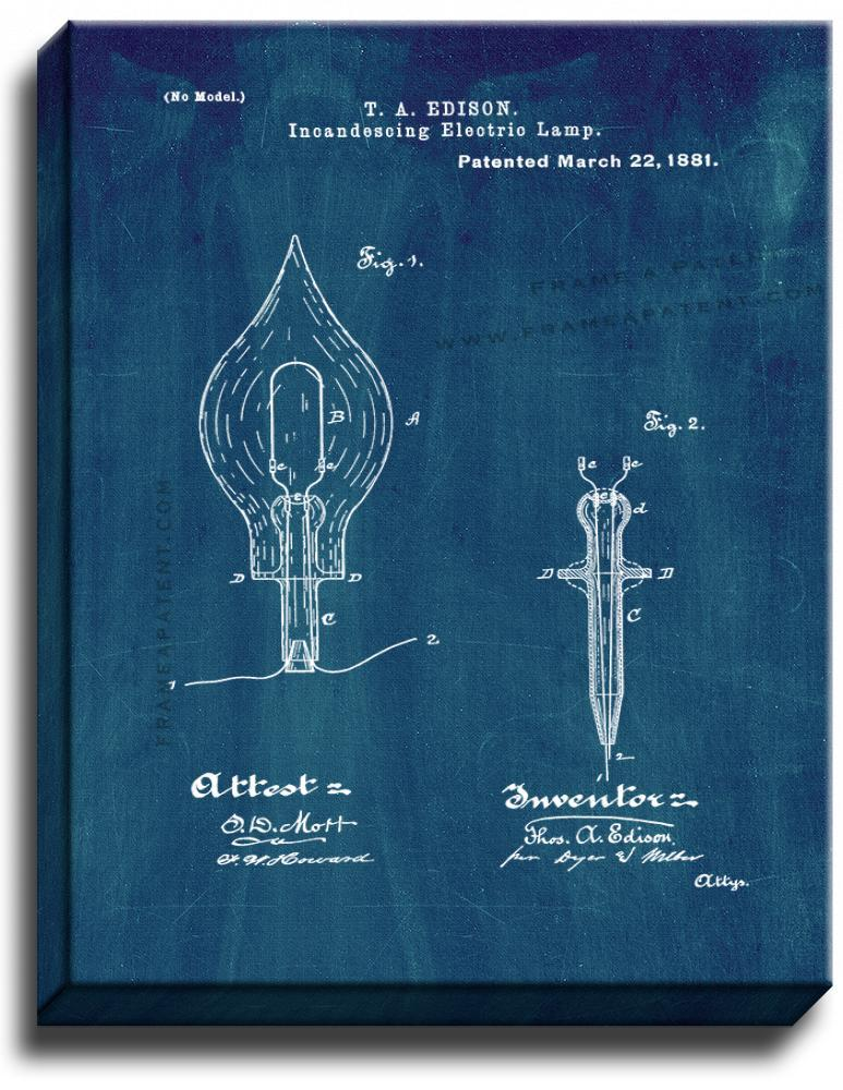 Primary image for Incandescing Electric Lamp Patent Print Midnight Blue on Canvas