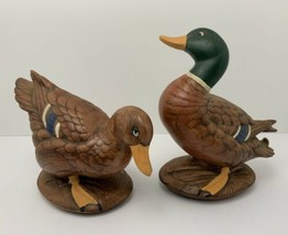 Vintage Ceramic Mallard Ducks Hand Painted Cabin Decor Pair - $34.60