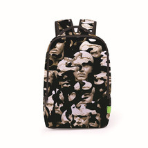 statue head abstract paint street teenagers fashion backpack - $26.00