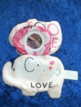 Carters Child of Mine Stuffed Plush Pink Black Elephant Clip On Ring Link Toy - $19.79
