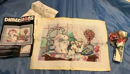 1989 Vtg Bunny Barbara Mock DIMENSIONS Cross Stitch Partial Completed #3... - $29.34