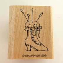 Stampin Up A Thing of Beauty Rubber Stamp Vintage Style Boot Hat Pin Cushion '96 - $3.99