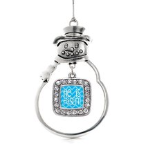 Inspired Silver He is Risen Blue Chevron Patterned Classic Snowman Holiday Decor - $14.69