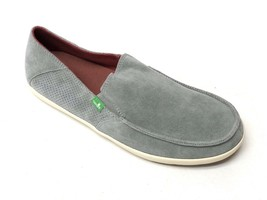 Sanuk Mens Casa Suede Grey Casual Boat Canvas Shoes Slip On Loafer SMF10658 New - $39.99