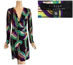 T-Bags Los Angeles Black Multi Colored Print Plunging Neck Jersey Dress S - $974,66 MXN