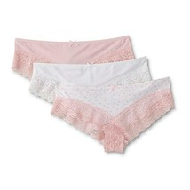 Simply Styled Women's Micro Cheeky Panties 3 Pair White Pink Hearts LARG... - $11.57