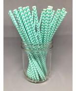 Mint Green Paper Straws (50 Pack) Chevron Zig Zag Drinking Straws US seller! - $7.70