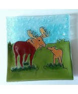 "Moose Family Fused Art Glass Decorative 5"" Square Plate Lodge Made in Ec... - $19.75"