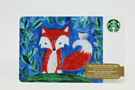Starbucks Coffee 2015 Gift Card Little Red Fox Mug Cup Green Leaves Zero... - $13.52