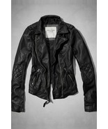 Abercrombie & Fitch Faux Leather Quilted Tatum Moto Jacket - Small - $75.00
