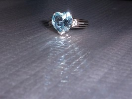 BLUE TOPAZ HEART SOLITAIRE & DIAMOND RING, STERLING, SIZE 7, 3.52(TCW), ... - $25.00